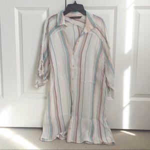 Zara Striped Button Up Linen Tunic/Dress